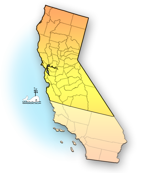Map of Northern California counties covered in survey, including the metropolitan areas of Sacramento and the San Francisco Bay Area